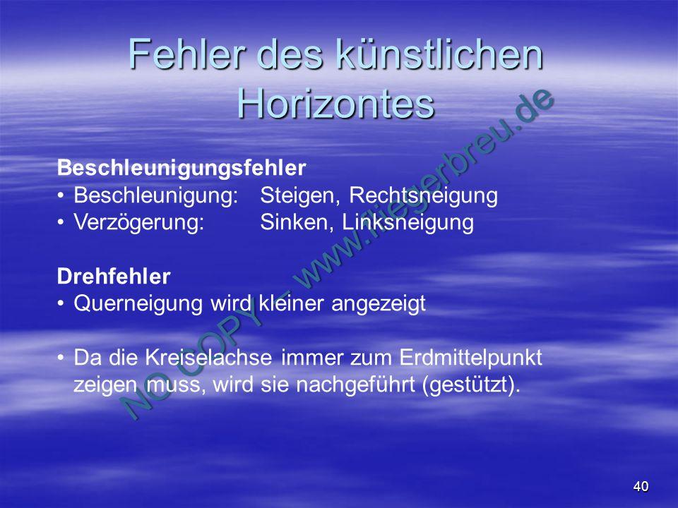 NO COPY – www.fliegerbreu.de 40 Fehler des künstlichen Horizontes Beschleunigungsfehler Beschleunigung: Steigen, Rechtsneigung Verzögerung:Sinken, Lin