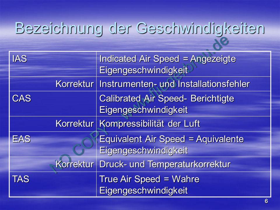 NO COPY – www.fliegerbreu.de 7 Bezeichnung der Geschwindigkeiten Berücksichtigte Fehler IAS CAS (RAS) EASTAS Fehler beseitigt durch: Kompressibilität in NN Skala-Eichung; Kompr.