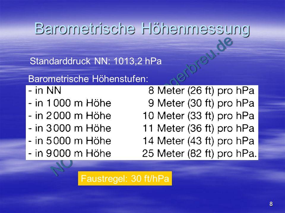 NO COPY – www.fliegerbreu.de 8 Barometrische Höhenmessung Standarddruck NN: 1013,2 hPa Barometrische Höhenstufen: Faustregel: 30 ft/hPa