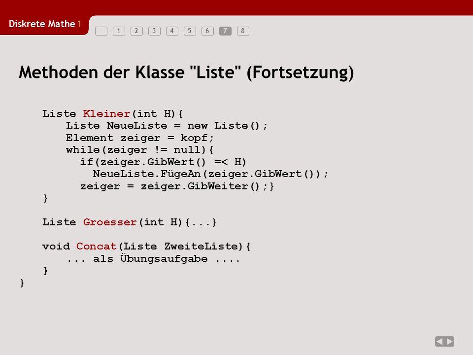 Diskrete Mathe1 123456787 Methoden der Klasse Liste (Fortsetzung) Liste Kleiner(int H){ Liste NeueListe = new Liste(); Element zeiger = kopf; while(zeiger != null){ if(zeiger.GibWert() =< H) NeueListe.FügeAn(zeiger.GibWert()); zeiger = zeiger.GibWeiter();} } Liste Groesser(int H){...} void Concat(Liste ZweiteListe){...
