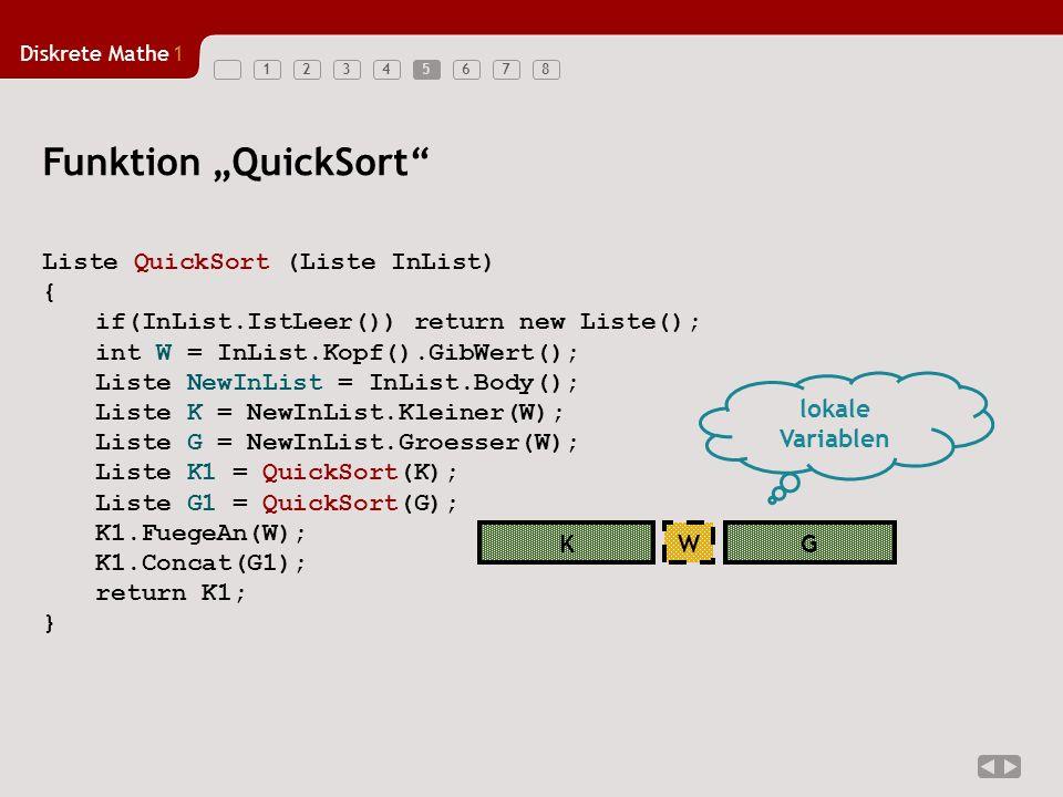 Diskrete Mathe1 123456785 Funktion QuickSort Liste QuickSort (Liste InList) { if(InList.IstLeer()) return new Liste(); int W = InList.Kopf().GibWert(); Liste NewInList = InList.Body(); Liste K = NewInList.Kleiner(W); Liste G = NewInList.Groesser(W); Liste K1 = QuickSort(K); Liste G1 = QuickSort(G); K1.FuegeAn(W); K1.Concat(G1); return K1; } KGW lokale Variablen