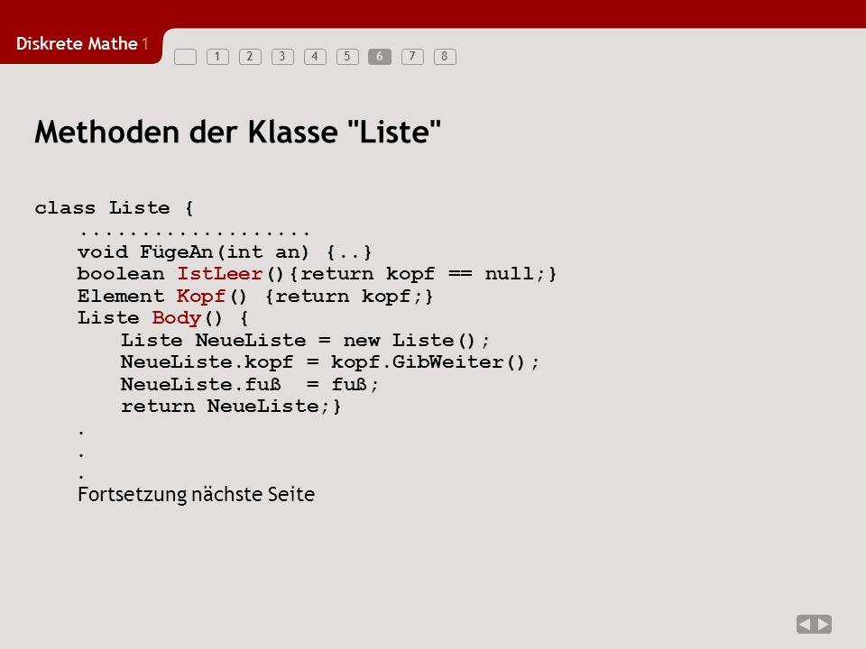 Diskrete Mathe1 123456786 Methoden der Klasse Liste class Liste {...................