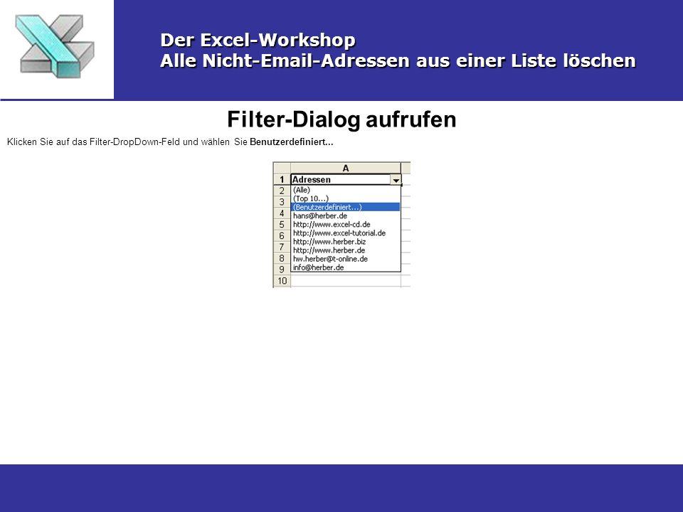 Filter-Dialog aufrufen Der Excel-Workshop Alle Nicht-Email-Adressen aus einer Liste löschen Klicken Sie auf das Filter-DropDown-Feld und wählen Sie Be
