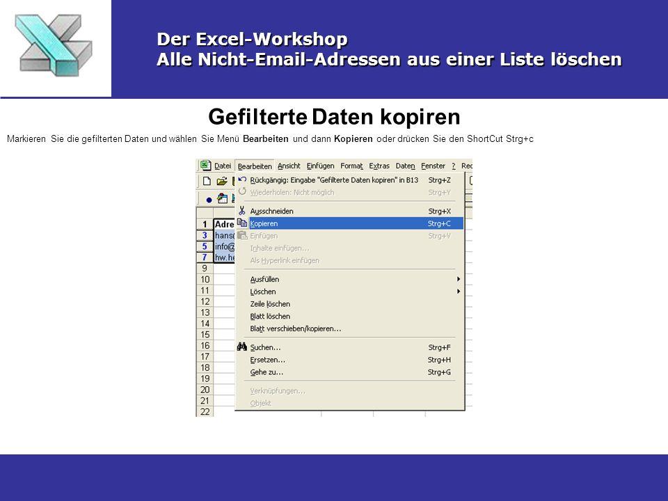 Gefilterte Daten kopiren Der Excel-Workshop Alle Nicht-Email-Adressen aus einer Liste löschen Markieren Sie die gefilterten Daten und wählen Sie Menü