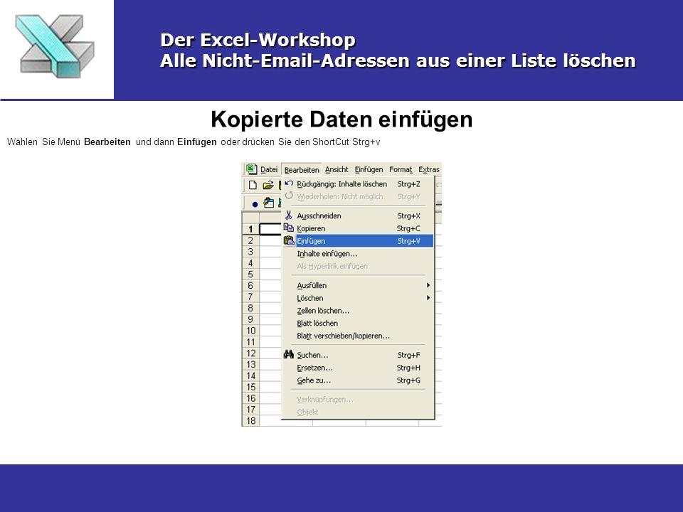 Kopierte Daten einfügen Der Excel-Workshop Alle Nicht-Email-Adressen aus einer Liste löschen Wählen Sie Menü Bearbeiten und dann Einfügen oder drücken