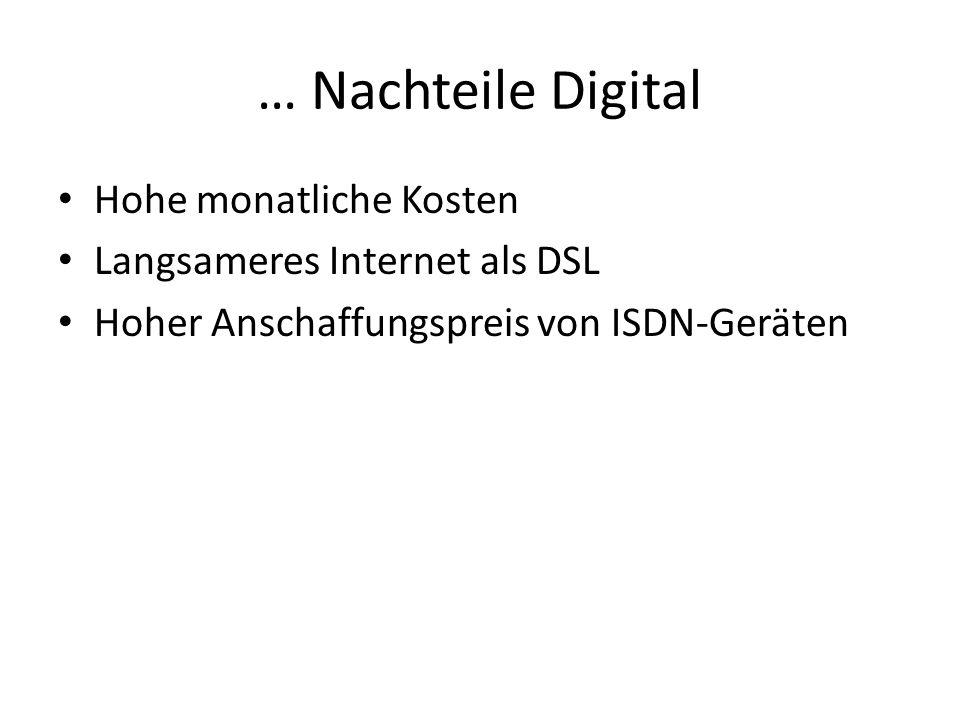 … Nachteile Digital Hohe monatliche Kosten Langsameres Internet als DSL Hoher Anschaffungspreis von ISDN-Geräten