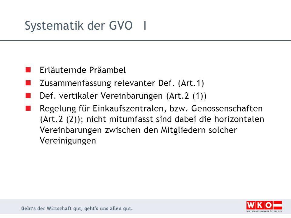 Charakteristika der GVO vertikaler Vertrieb VO Nr.