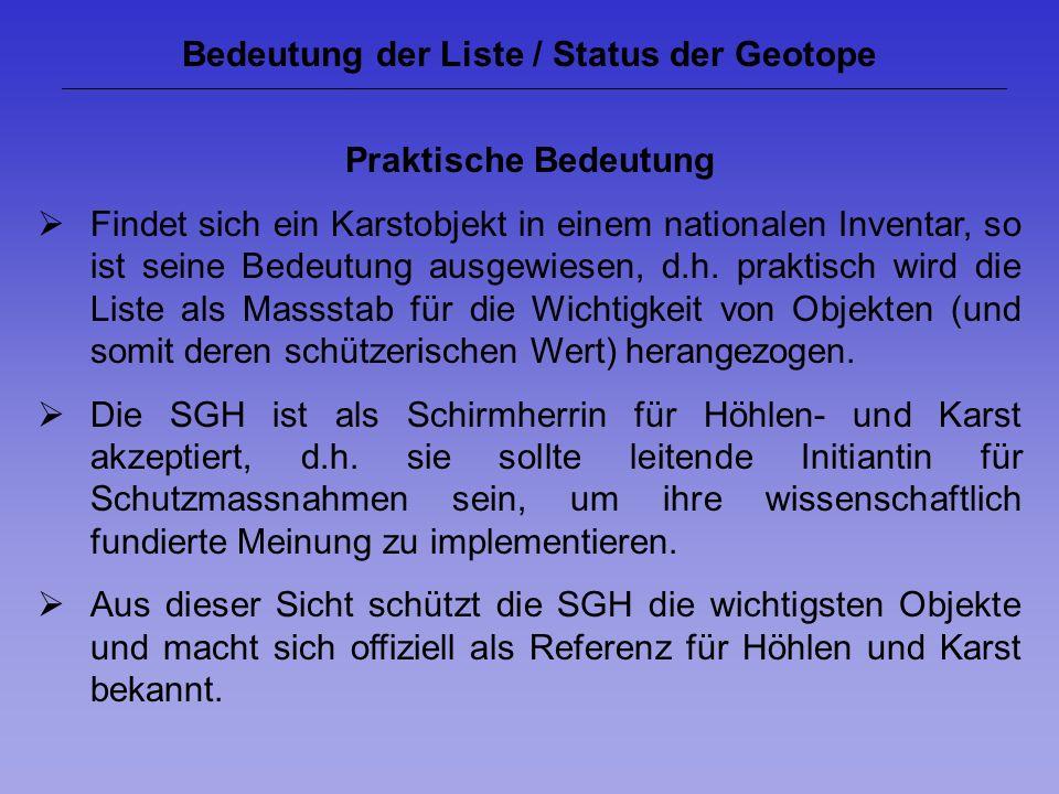 Bedeutung der Liste / Status der Geotope Praktische Bedeutung Findet sich ein Karstobjekt in einem nationalen Inventar, so ist seine Bedeutung ausgewi