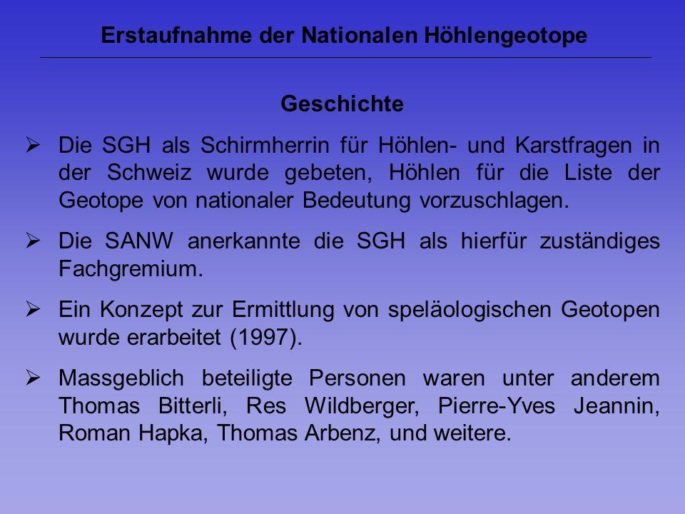 Erstaufnahme der Nationalen Höhlengeotope Geschichte Die SGH als Schirmherrin für Höhlen- und Karstfragen in der Schweiz wurde gebeten, Höhlen für die