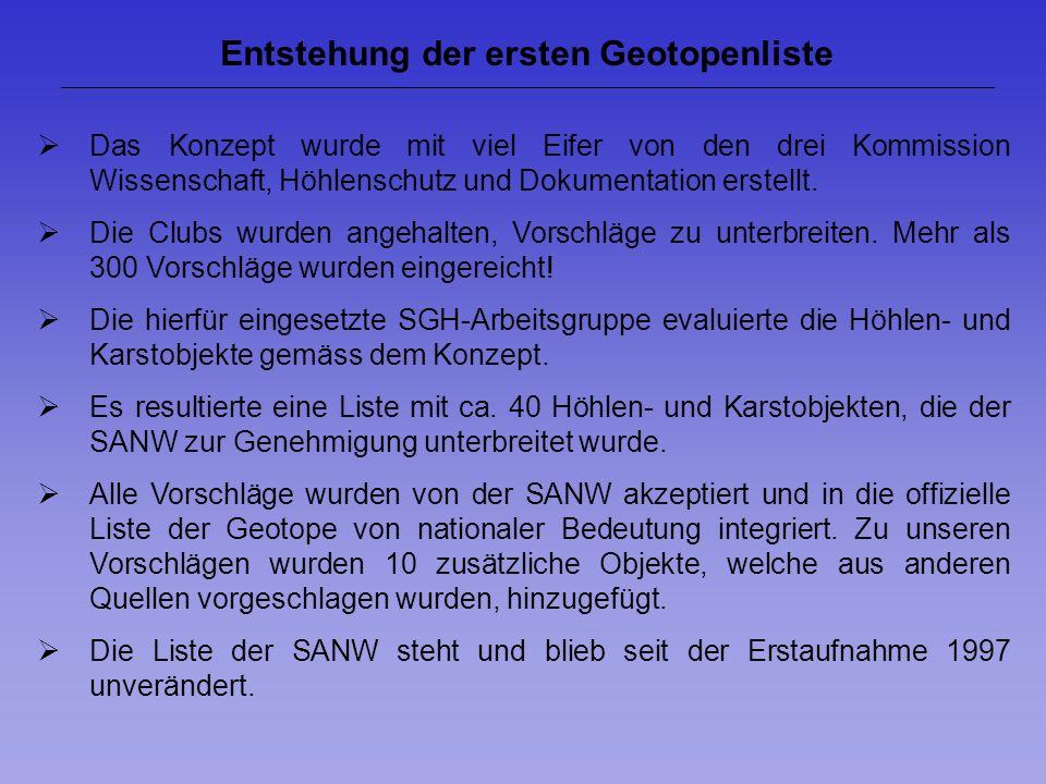 Entstehung der ersten Geotopenliste Das Konzept wurde mit viel Eifer von den drei Kommission Wissenschaft, Höhlenschutz und Dokumentation erstellt. Di