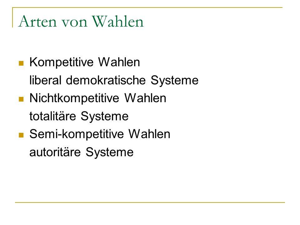 Arten von Wahlen Kompetitive Wahlen liberal demokratische Systeme Nichtkompetitive Wahlen totalitäre Systeme Semi-kompetitive Wahlen autoritäre System