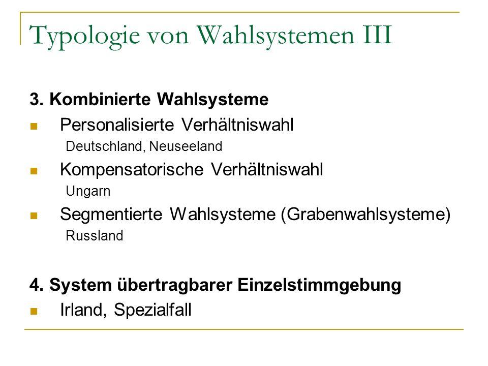 Typologie von Wahlsystemen III 3. Kombinierte Wahlsysteme Personalisierte Verhältniswahl Deutschland, Neuseeland Kompensatorische Verhältniswahl Ungar