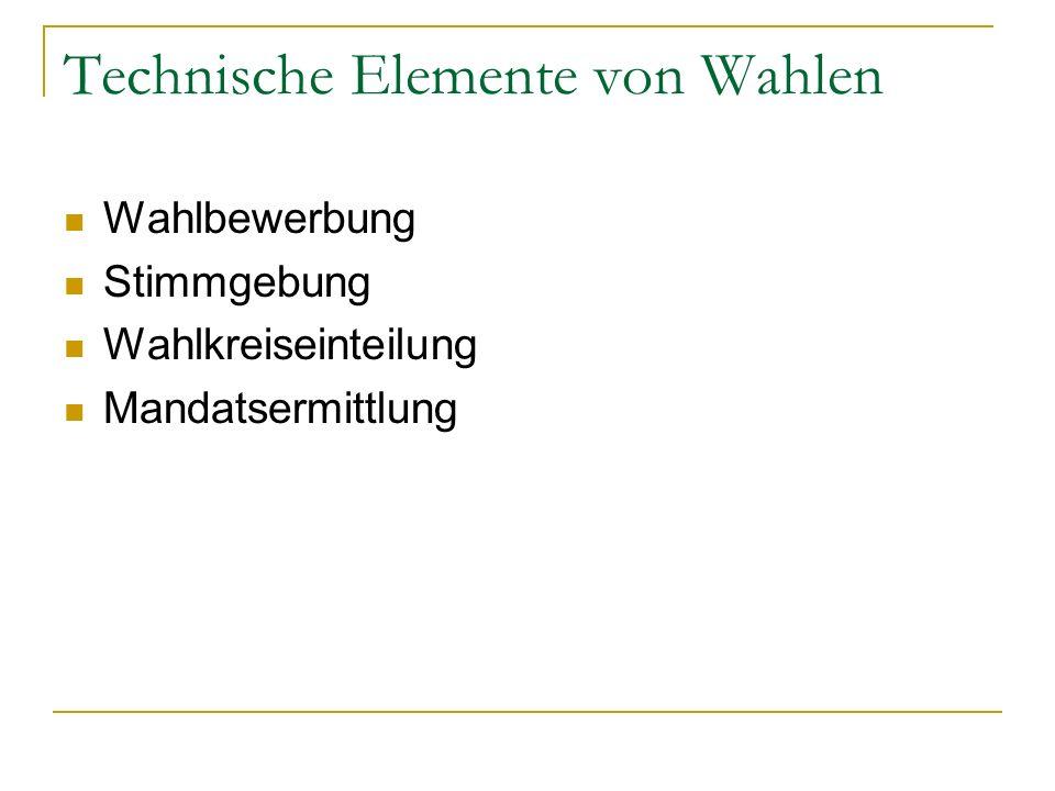 Technische Elemente von Wahlen Wahlbewerbung Stimmgebung Wahlkreiseinteilung Mandatsermittlung