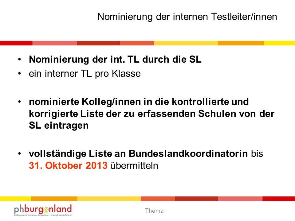 Thema BIST - Testungen 2014 D4 - Testung6.und 7. Mai 2014 Ersatz: 14./15.