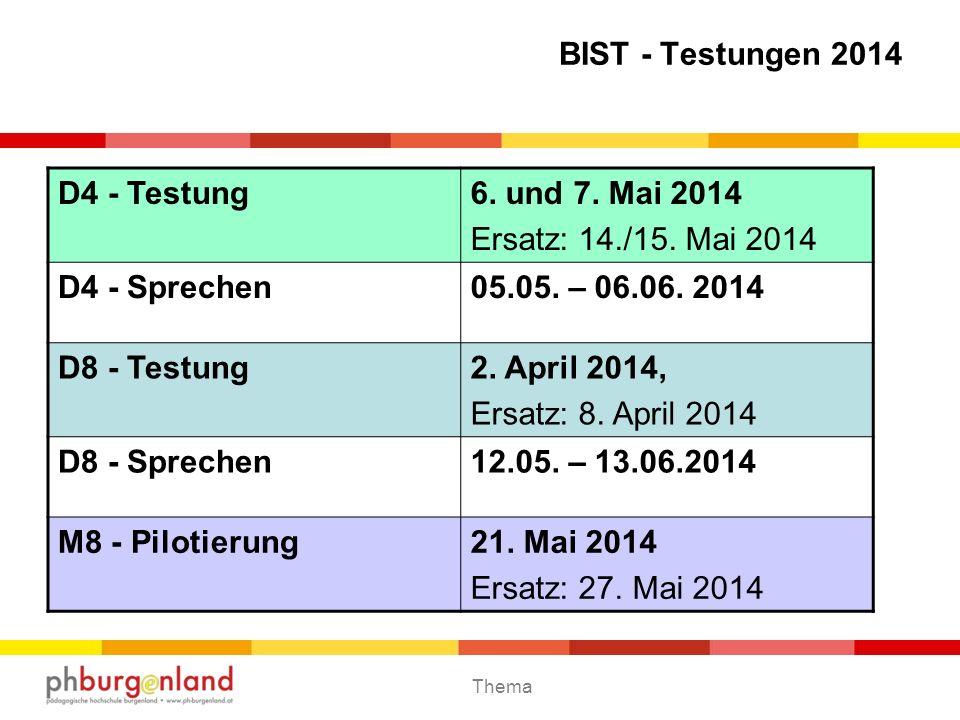 Thema BIST - Testungen 2014 D4 - Testung6. und 7. Mai 2014 Ersatz: 14./15. Mai 2014 D4 - Sprechen05.05. – 06.06. 2014 D8 - Testung2. April 2014, Ersat