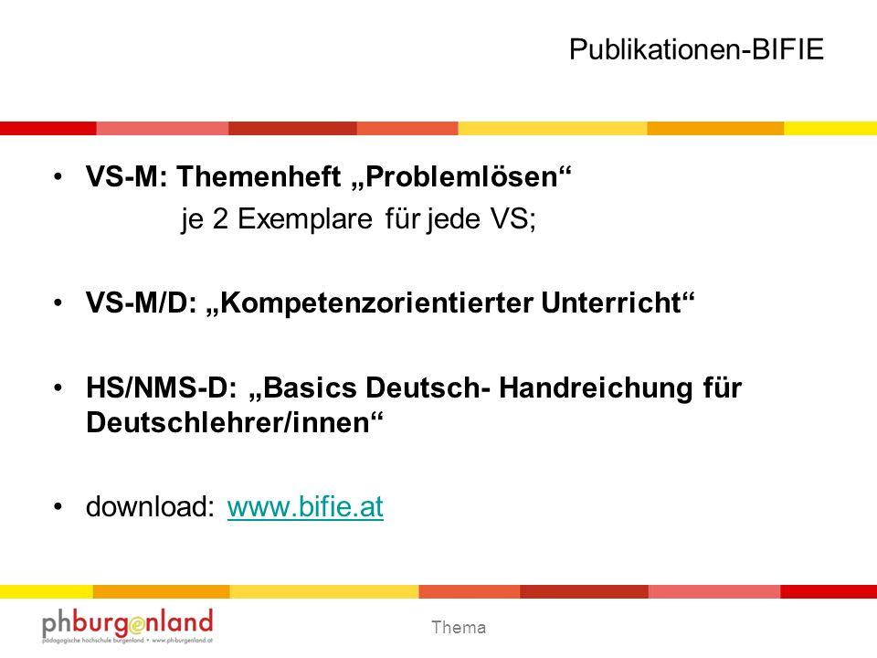 Thema Publikationen-BIFIE VS-M: Themenheft Problemlösen je 2 Exemplare für jede VS; VS-M/D: Kompetenzorientierter Unterricht HS/NMS-D: Basics Deutsch-