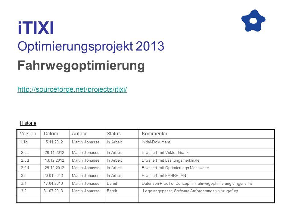 iTIXI Optimierungsprojekt 2013 Fahrwegoptimierung http://sourceforge.net/projects/itixi/ VersionDatumAuthorStatusKommentar 1.1g15.11.2012Martin Jonass