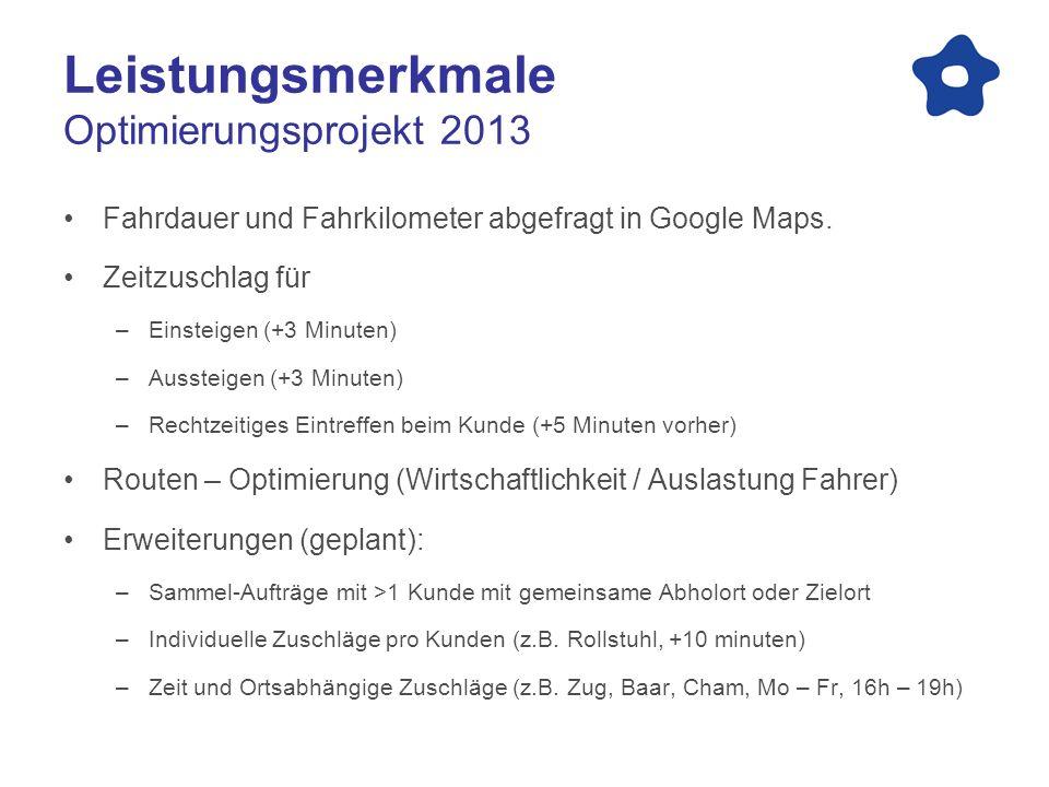 Leistungsmerkmale Optimierungsprojekt 2013 Fahrdauer und Fahrkilometer abgefragt in Google Maps. Zeitzuschlag für –Einsteigen (+3 Minuten) –Aussteigen