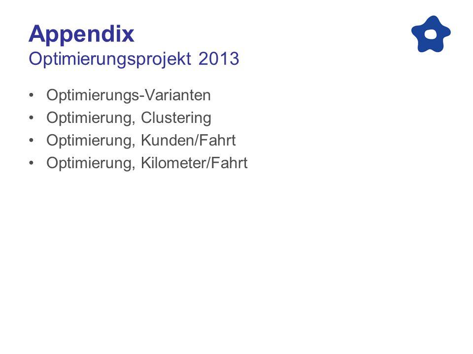 Appendix Optimierungsprojekt 2013 Optimierungs-Varianten Optimierung, Clustering Optimierung, Kunden/Fahrt Optimierung, Kilometer/Fahrt