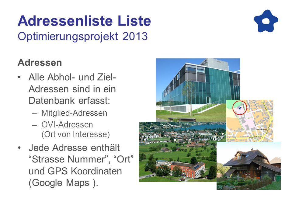 Adressenliste Liste Optimierungsprojekt 2013 Adressen Alle Abhol- und Ziel- Adressen sind in ein Datenbank erfasst: –Mitglied-Adressen –OVI-Adressen (Ort von Interesse) Jede Adresse enthältStrasse Nummer, Ort und GPS Koordinaten (Google Maps ).
