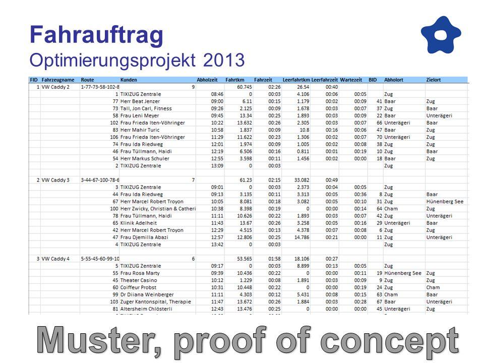 Fahrplan Optimierungsprojekt 2013