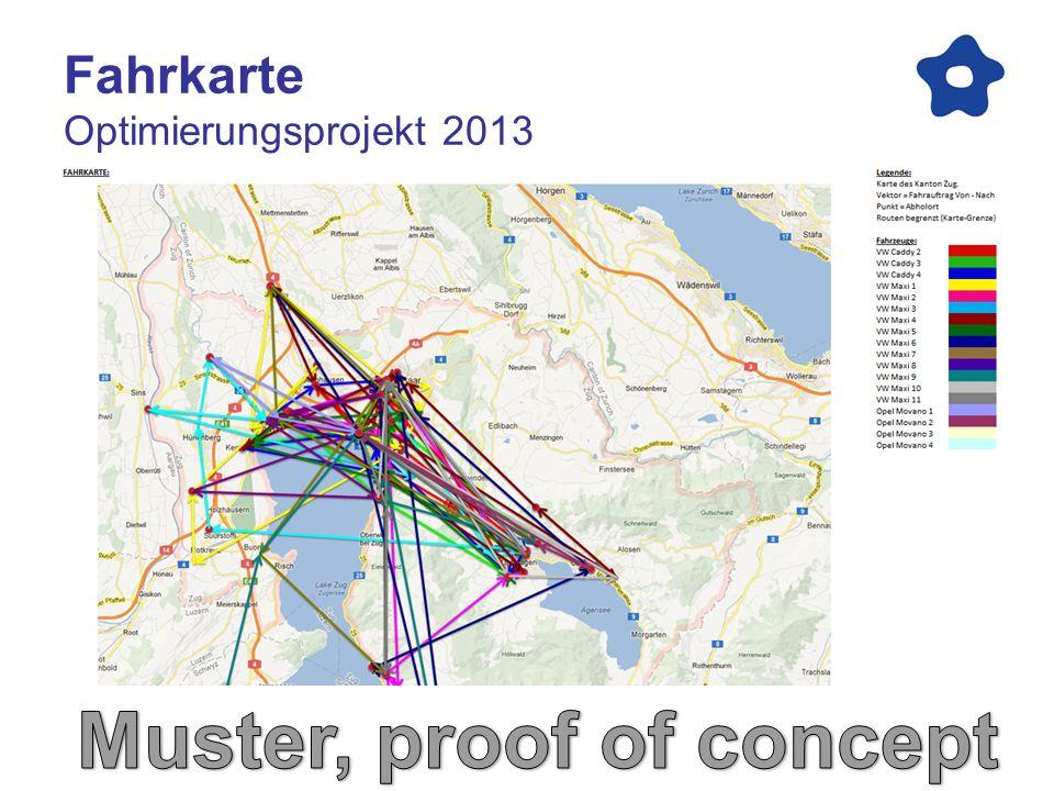 Leistungsmerkmale Optimierungsprojekt 2013 Fahrdauer und Fahrkilometer abgefragt in Google Maps.