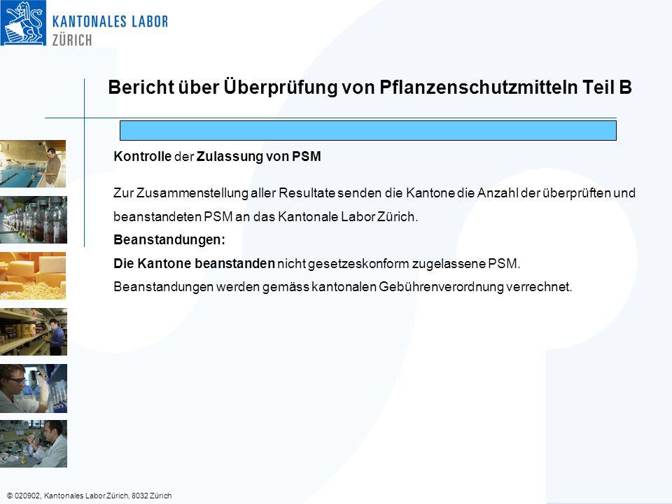 © 020902, Kantonales Labor Zürich, 8032 Zürich Bericht über Überprüfung von Pflanzenschutzmitteln Teil B Kontrolle der Zulassung von PSM Zur Zusammenstellung aller Resultate senden die Kantone die Anzahl der überprüften und beanstandeten PSM an das Kantonale Labor Zürich.