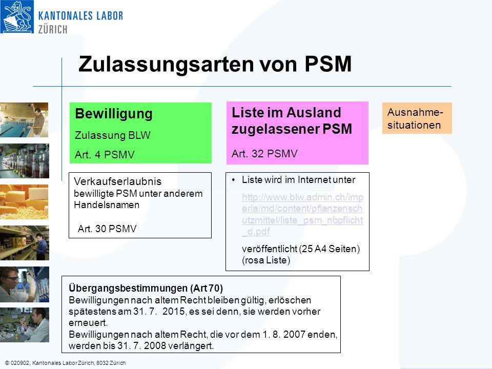 © 020902, Kantonales Labor Zürich, 8032 Zürich Zulassungsarten von PSM Ausnahme- situationen Liste im Ausland zugelassener PSM Art. 32 PSMV Liste wird