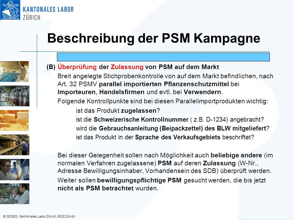 © 020902, Kantonales Labor Zürich, 8032 Zürich (B) Überprüfung der Zulassung von PSM auf dem Markt Breit angelegte Stichprobenkontrolle von auf dem Ma