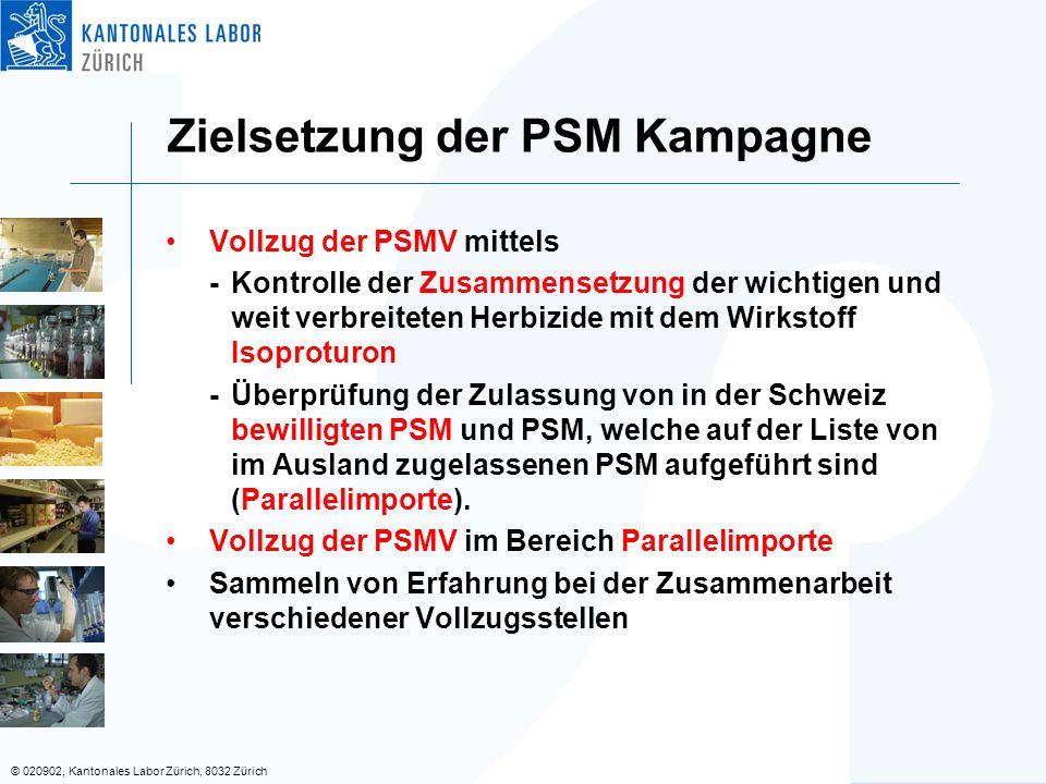© 020902, Kantonales Labor Zürich, 8032 Zürich Vollzug der PSMV mittels -Kontrolle der Zusammensetzung der wichtigen und weit verbreiteten Herbizide mit dem Wirkstoff Isoproturon -Überprüfung der Zulassung von in der Schweiz bewilligten PSM und PSM, welche auf der Liste von im Ausland zugelassenen PSM aufgeführt sind (Parallelimporte).