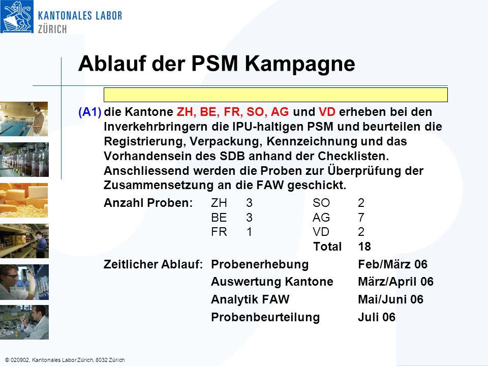 © 020902, Kantonales Labor Zürich, 8032 Zürich Ablauf der PSM Kampagne (A1)die Kantone ZH, BE, FR, SO, AG und VD erheben bei den Inverkehrbringern die