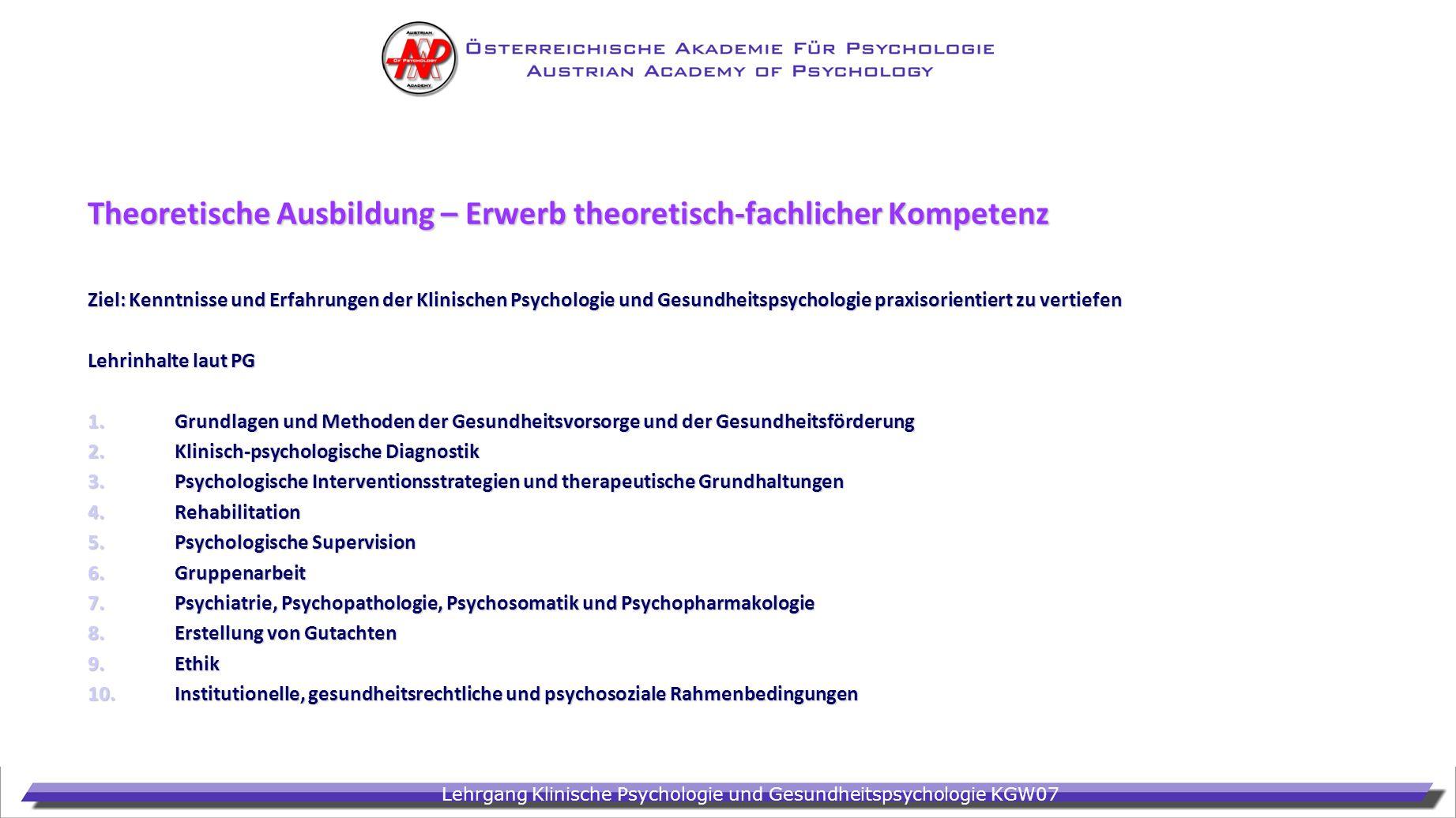 Lehrgang Klinische Psychologie und Gesundheitspsychologie KGW07 Theoretische Ausbildung – Erwerb theoretisch-fachlicher Kompetenz Ziel: Kenntnisse und