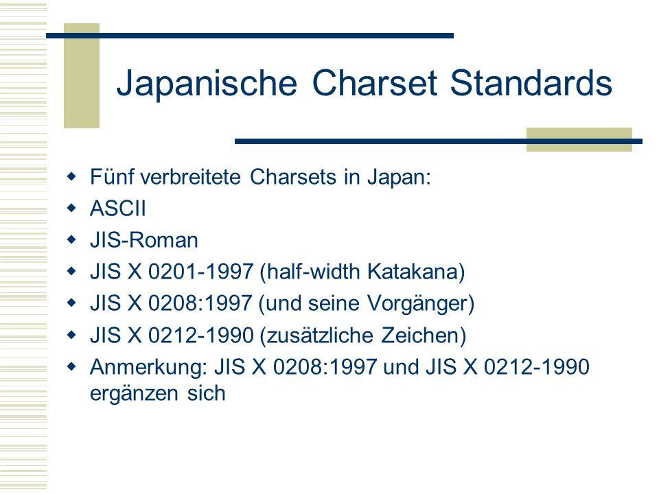 Japanische Charset Standards Fünf verbreitete Charsets in Japan: ASCII JIS-Roman JIS X 0201-1997 (half-width Katakana) JIS X 0208:1997 (und seine Vorgänger) JIS X 0212-1990 (zusätzliche Zeichen) Anmerkung: JIS X 0208:1997 und JIS X 0212-1990 ergänzen sich
