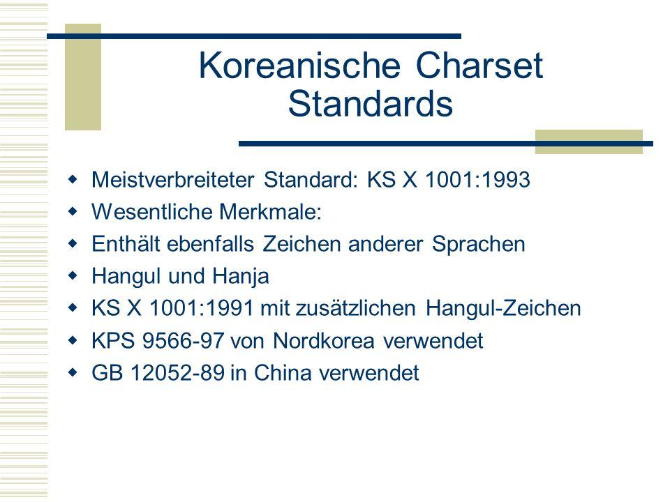 Koreanische Charset Standards Meistverbreiteter Standard: KS X 1001:1993 Wesentliche Merkmale: Enthält ebenfalls Zeichen anderer Sprachen Hangul und Hanja KS X 1001:1991 mit zusätzlichen Hangul-Zeichen KPS 9566-97 von Nordkorea verwendet GB 12052-89 in China verwendet