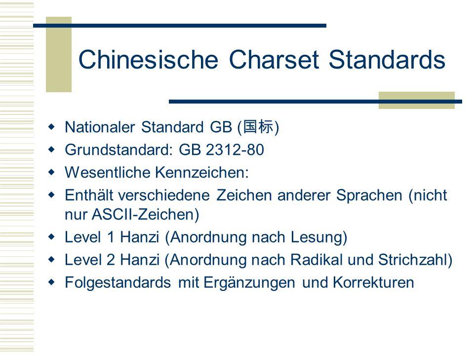 Chinesische Charset Standards Nationaler Standard GB ( ) Grundstandard: GB 2312-80 Wesentliche Kennzeichen: Enthält verschiedene Zeichen anderer Sprachen (nicht nur ASCII-Zeichen) Level 1 Hanzi (Anordnung nach Lesung) Level 2 Hanzi (Anordnung nach Radikal und Strichzahl) Folgestandards mit Ergänzungen und Korrekturen
