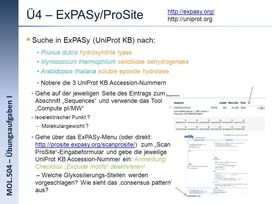 MOL.504 – Übungsaufgaben I Ü4 – ExPASy/ProSite Suche in ExPASy (UniProt KB) nach: Prunus dulcis hydroxynitrile lyase Myriococcum thermophilum cellobio