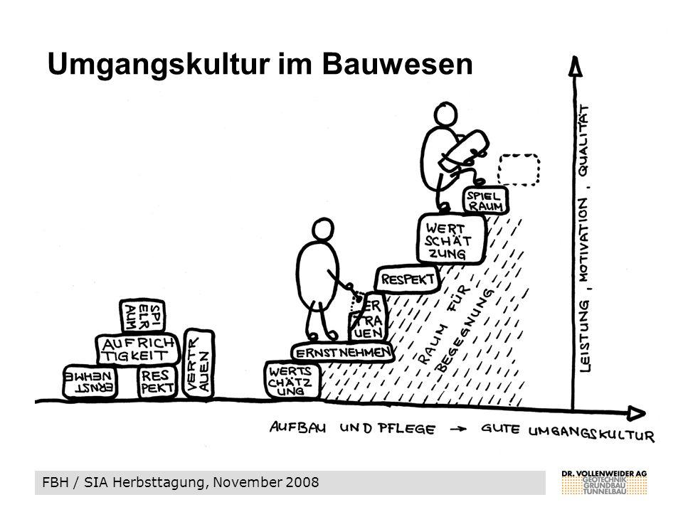 FBH / SIA Herbsttagung, November 2008 Umgangskultur im Bauwesen