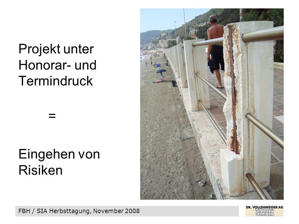 FBH / SIA Herbsttagung, November 2008 Projekt unter Honorar- und Termindruck = Eingehen von Risiken