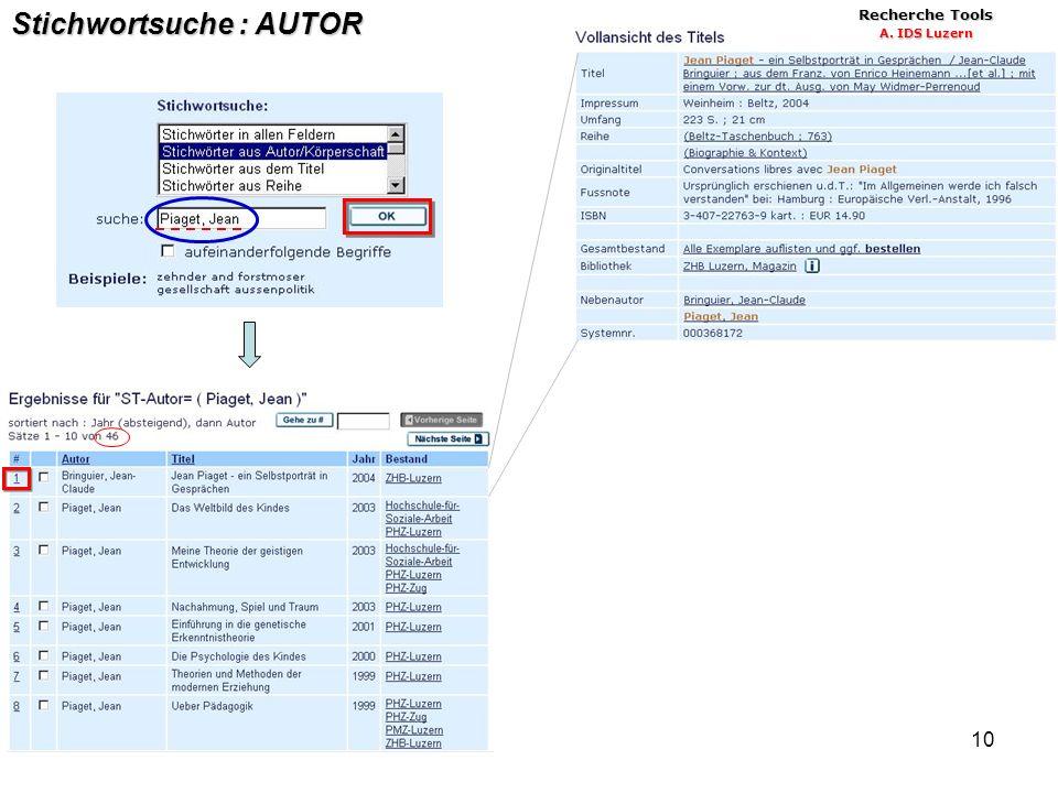 10 Stichwortsuche : AUTOR Recherche Tools A. IDS Luzern