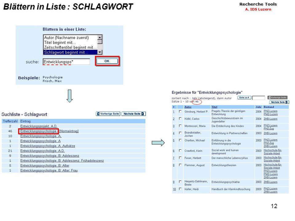 12 Blättern in Liste : SCHLAGWORT Recherche Tools A. IDS Luzern