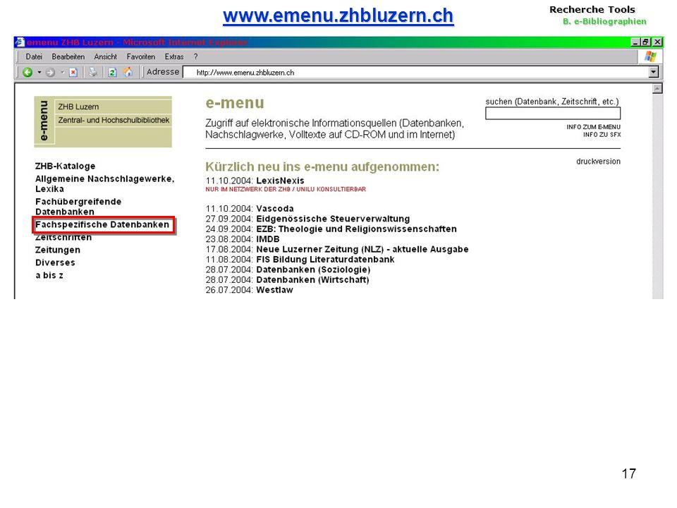 17 Recherche Tools B. e-Bibliographien www.emenu.zhbluzern.ch