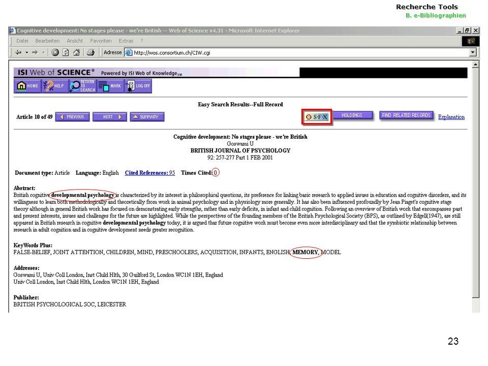 23 Recherche Tools B. e-Bibliographien