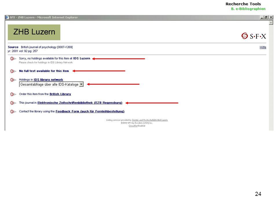 24 Recherche Tools B. e-Bibliographien