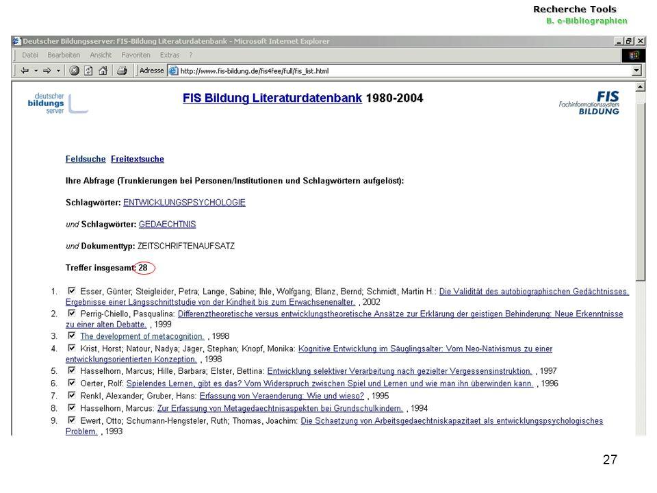 27 Recherche Tools B. e-Bibliographien