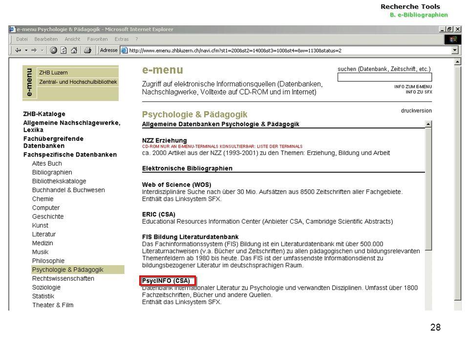 28 Recherche Tools B. e-Bibliographien
