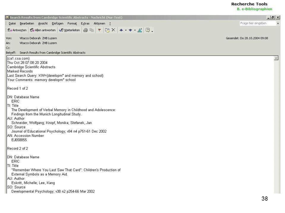 38 Recherche Tools B. e-Bibliographien