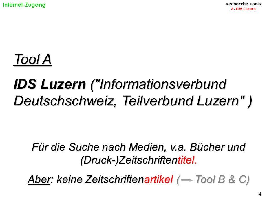 4 Tool A IDS Luzern ( Informationsverbund Deutschschweiz, Teilverbund Luzern ) Für die Suche nach Medien, v.a.