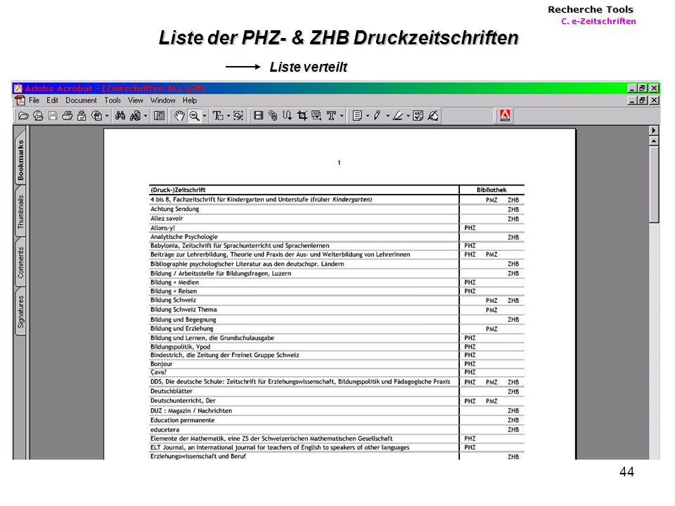 44 Liste der PHZ- & ZHB Druckzeitschriften Liste verteilt Recherche Tools C. e-Zeitschriften