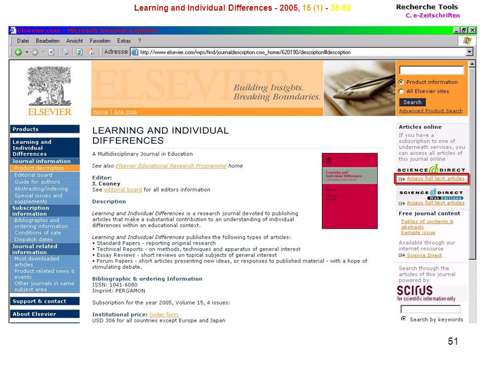 51 Recherche Tools C. e-Zeitschriften Learning and Individual Differences , 15 (1)