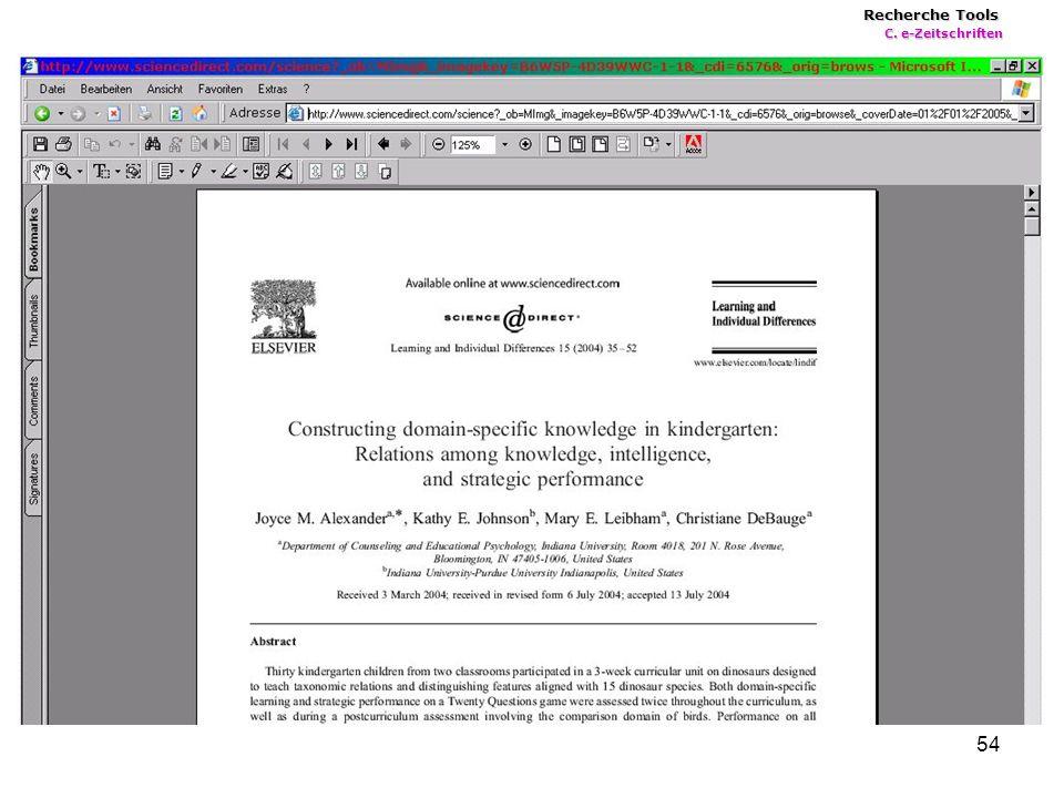 54 Recherche Tools C. e-Zeitschriften